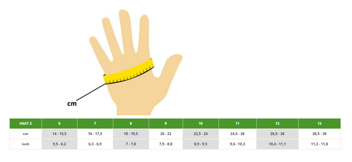 Heat 3 Smart Glove Metric Sizing Chart
